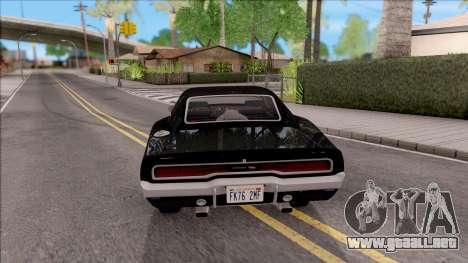Dodge Charger RT 1970 para GTA San Andreas vista posterior izquierda