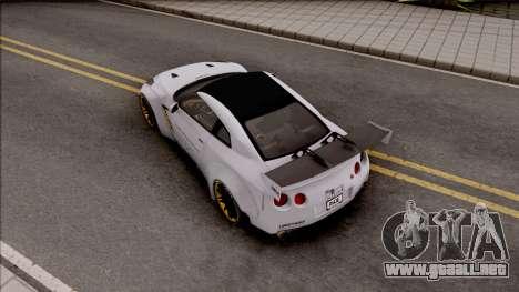 Nissan GT-R R35 LB Walk para GTA San Andreas vista hacia atrás