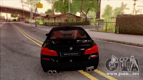 BMW M5 F10 Nighthawk para GTA San Andreas vista posterior izquierda