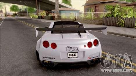 Nissan GT-R R35 LB Walk para GTA San Andreas vista posterior izquierda