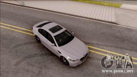 BMW M5 F10 30 Jahre para la visión correcta GTA San Andreas