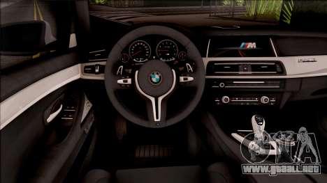 BMW M5 F10 30 Jahre para visión interna GTA San Andreas