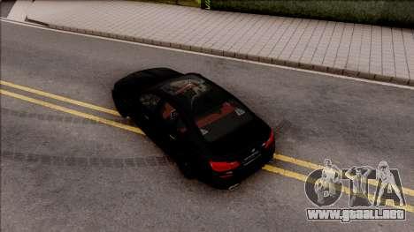 BMW M5 F10 Nighthawk para GTA San Andreas vista hacia atrás