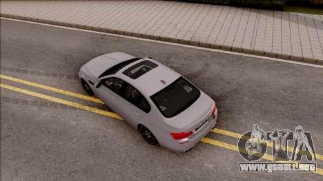 BMW M5 F10 30 Jahre para GTA San Andreas vista hacia atrás