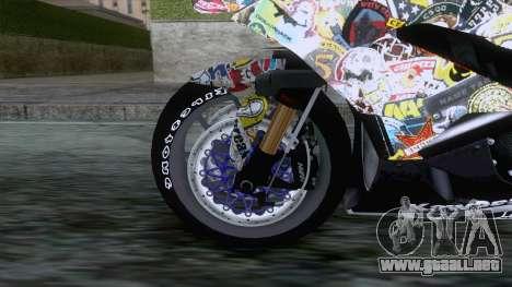 Kawasaki Ninja ZX-6R BoomCustom para GTA San Andreas vista hacia atrás