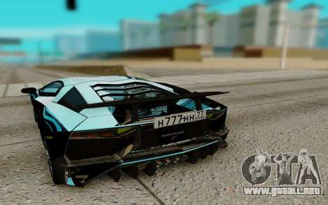 Lamborghini Aventador SV 2015 para GTA San Andreas vista posterior izquierda