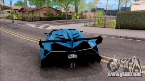 Lamborghini Veneno Roadster para GTA San Andreas vista posterior izquierda