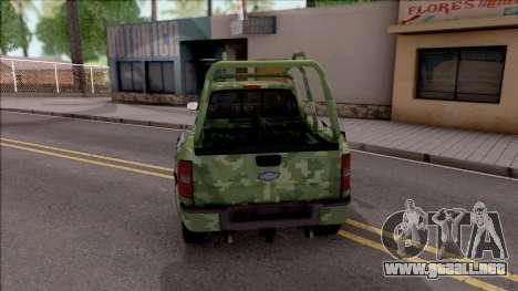 Chevrolet Silverado Auto Militar De Guatemala para GTA San Andreas vista posterior izquierda