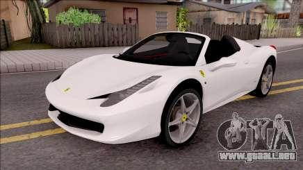 Ferrari 458 Italia Spider para GTA San Andreas