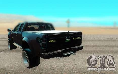 Ford 150 Raptor 2012 para GTA San Andreas vista hacia atrás