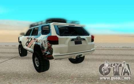 Toyota FJ Cruiser 4 Runner para GTA San Andreas vista hacia atrás