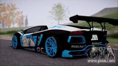 Lamborghini Aventador v3 para GTA San Andreas vista posterior izquierda