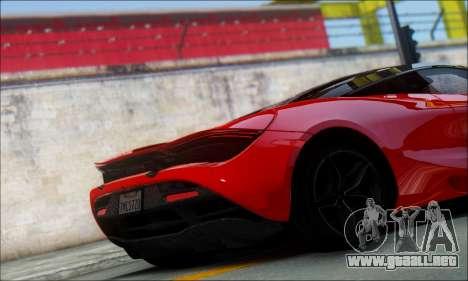 McLaren 720S para GTA San Andreas vista posterior izquierda