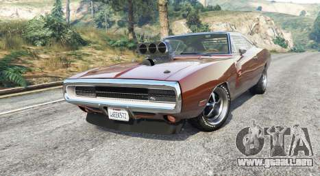 GTA 5 Dodge Charger RT (XS29) 1970 v4.0 [replace] vista lateral derecha