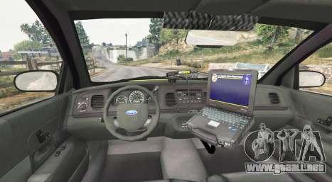 GTA 5 Ford Crown Victoria Undercover Police [replace] vista lateral trasera derecha