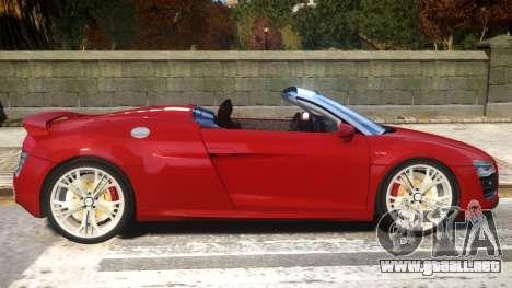 2014 Audi R8 V10 Plus Spyder v1.0 para GTA 4 vista hacia atrás