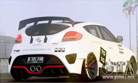 Hyundai Veloster Turbo Capruk Works Kit para GTA San Andreas vista posterior izquierda