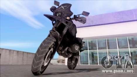 Motocicleta de juego PUBG para GTA San Andreas vista posterior izquierda