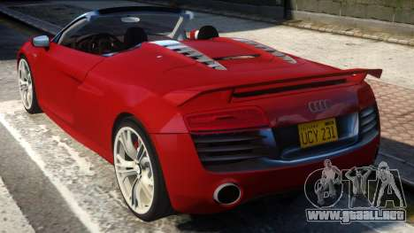 2014 Audi R8 V10 Plus Spyder v1.0 para GTA 4 Vista posterior izquierda
