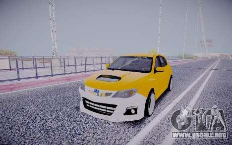 Subaru Impreza StanceWorks para GTA San Andreas vista hacia atrás