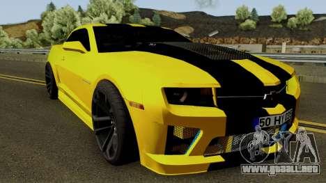 Mygarage Chevrolet Camaro SS de la Construcción  para visión interna GTA San Andreas