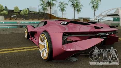 Lamborghini Terzo Millennio 2017 para GTA San Andreas vista posterior izquierda