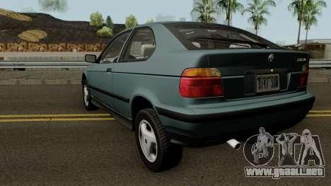 BMW 3-Series e36 Compact 318ti 1995 (US-Spec) para GTA San Andreas vista posterior izquierda