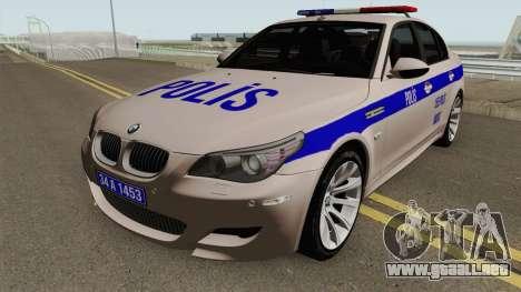 La policía turca de coche BMW M5 E60 para GTA San Andreas