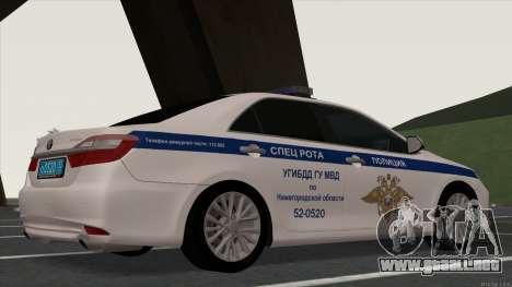 Toyota Camry 2015 de la policía de tráfico para GTA San Andreas