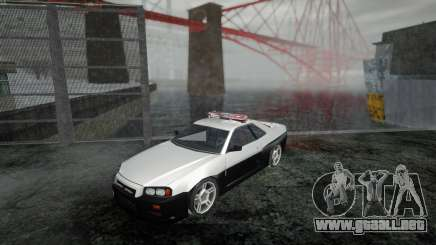 Nissan Skyline R34 Police Low Poly para GTA San Andreas