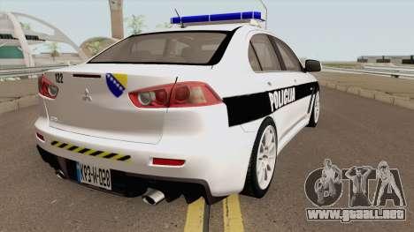 Mitsubishi Lancer Evolution X POLICIJA BiH para GTA San Andreas