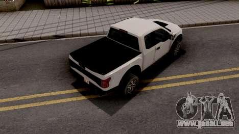 Ford F-150 Raptor 2017 SA Style para GTA San Andreas
