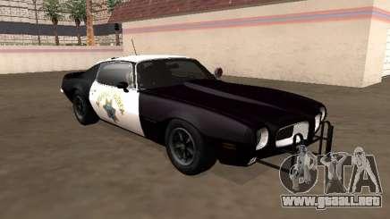 Pontiac Firebird 1970 Patrulla de Carreteras de California para GTA San Andreas