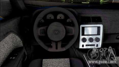 Dodge Challenger SRT8 2012 [ADB IVF VehFuncs] para GTA San Andreas